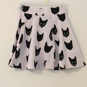 Women's XS H&M Black And White A Line Cat Skirt